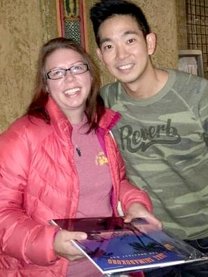 Danielle McPherson of Sturgis, left, met composer and ukulele virtuoso Jake Shimabukuro in 2018 after a concert in Kalamazoo.