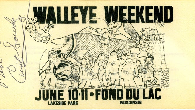 """Famed sportscaster Curt Gowdy signed this poster from the first Walleye Weekend in 1978, which reflected the event's roots in the National Walleye Tournament. Local historian Tracy Reinhardt will present """"40 Years of Walleye Weekend"""" at 2 p.m. and repeated at 6 p.m. Thursday, May 17, at the Fond du Lac Public Library. The programs are free; no registration required."""