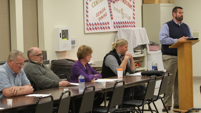 A Belle Plaine City Council Candidate Forum was held Monday, Oct. 23, at the community center. From the left are candidates Richard Daily, Mitch Malcolm, Judy Schlesselman, Adam Papesh, plus Greg Johnson of the Belle Plaine Community Development Corporation. The corporation hosted the forum. The city election is Nov. 7.