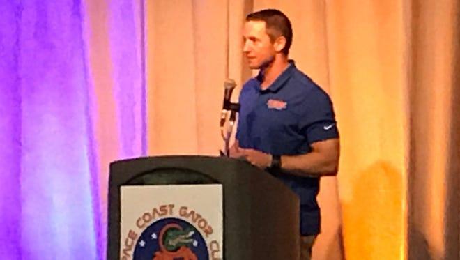 Florida Gators basketball coach Mike White spoke to the Space Coast Gator Club at Melbourne Auditorium on Thursday.