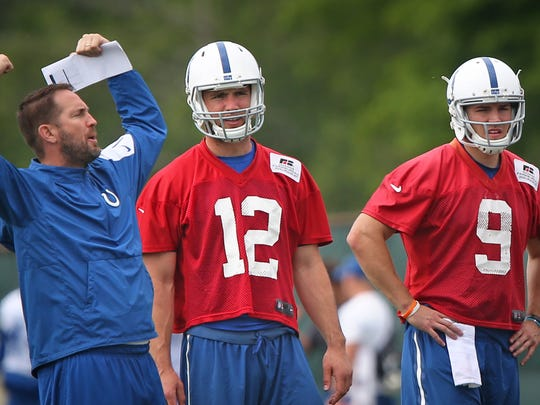 """He's got a lot in his mind he wants to prove,"" new Colts QB coach Brian Schottenheimer, left, says of Andrew Luck (middle)."
