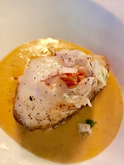 Chilean seabass with lobster sauce and chilled lobster