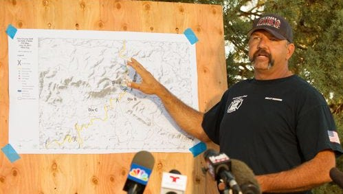 Search operations director Billy Morris gives an update on areas the search for Hector Miguel Garnica will focus on July 19, 2017, in Payson. Garnica was swept away in a flash flood on July 15 that killed nine of his family members.