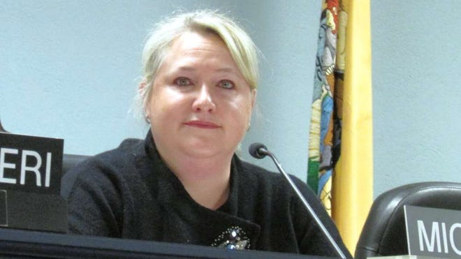 West Milford Councilwoman Michele Dale is seen at the Jan. 6 reorganization meeting of the mayor and council after being chosen as council president for 2016.