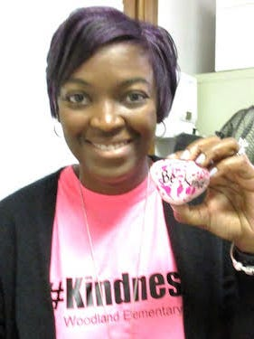 Taryn Nall, guidance counselor, spearheaded a Kindness Week project where kids decorate rocks with kind, inspirational messages.