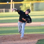 Lane Guffey fires a pitch during Longhorns' victory over County Line in the Class 1A State Baseball Tournament.