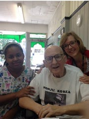 Haven Hospice Home Health Aide Yokauri Batista and Social Worker Tracy Grafton accompanied patient Bill Smith on a trip to a local diner to meet his old friend for lunch.