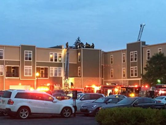 Carmel firefighters battled a blaze at the Old Town on the Monon apartments Wednesday.