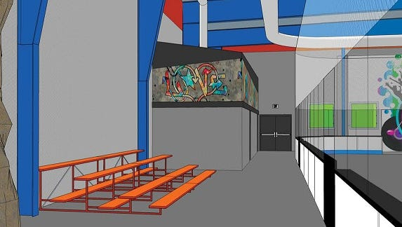 An artist's rendering of the Change Center, which shows the roller skating rink on the right.