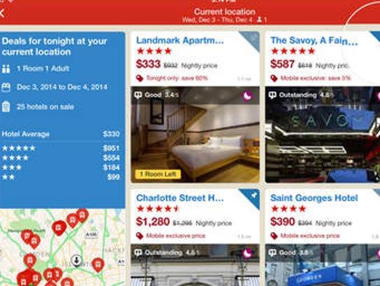 A screnshot of the Hotels.com app.