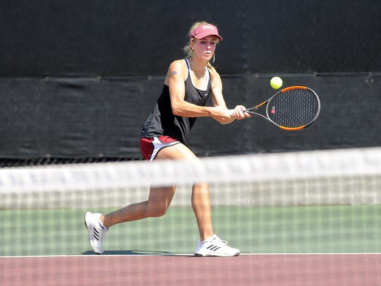 Eula's Anna Masonheimer watches the ball during the Class 1A girls singles quarterfinals at the UIL state championships in College Station on Thursday, May 17, 2018. Masonheimer earned a 6-1, 6-1 win.