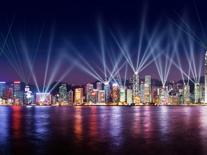 Hong Kong celebrates sundown with the Symphony of Lights.