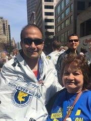 San Angelo runner Josh Leyva poses with his mother Ilda after the Boston Marathon.