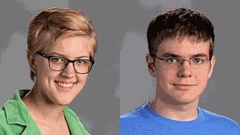 """Sarah Ridings and Mark """"Mitchell"""" Harsha of N.E.W. Lutheran High School."""