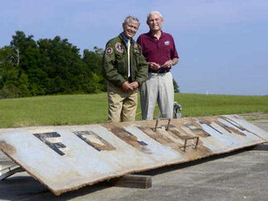 The stern plate of the USS Forrestal is on display