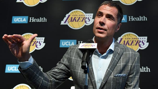 Rob Pelinka, General Manager of Los Angeles Lakers, speaks during Los Angeles Lakers Media Day September 25, 2017, in El Segundo, California.