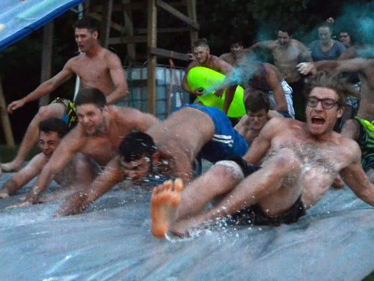 A group of young men take the plunge for the first