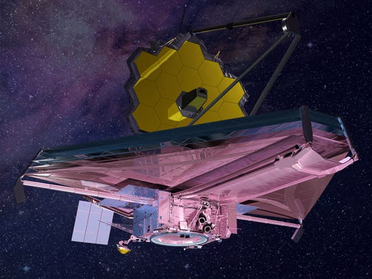 An artist's rendering of the James Webb Space Telescope when fully deployed.