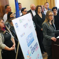 Libby Skarin, policy director with the American Civil Liberties Union of South Dakota, speaks during a press conference against legislation they said would discriminate against transgender people Friday, Jan. 29, 2016, in the Cascade Room of the Downtown Holiday Inn in Sioux Falls.