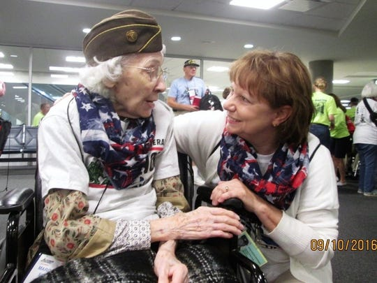 Darlene Hemmingsen, right, boarded the first all-women Honor Flight out of Columbus. She was joined by 80 other veterans, including World War II veteran Margaret (Goerner) Switzer, left, who served as a stenographer in the Philippines Islands during the war.