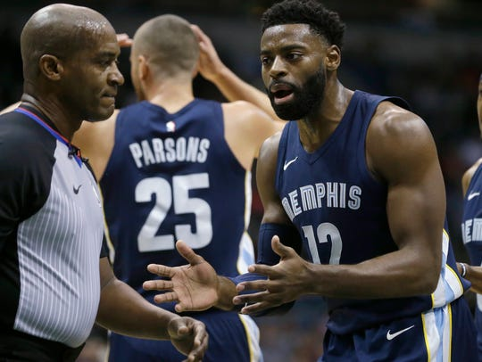 Memphis Grizzlies' Tyreke Evans questions a call by
