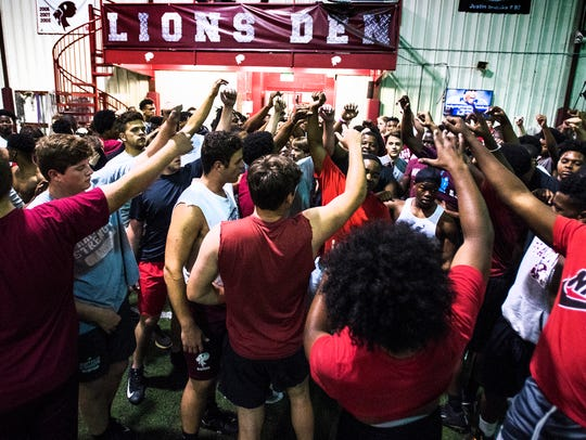 Prattville High School football during weight training