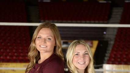 Setter Madison McDaniel, left, and libero Halle Harker are freshmen on the No. 25 Arizona State volleyball team.