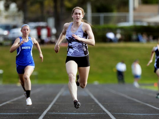 South Western's Lynne Mooradian wins her preliminary heat in the 200-meter dash at the YAIAA track and field championships Friday at Dallastown High School. Mooradian matched her gold total from last season, winning four events at the league championships.