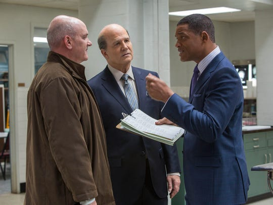 """Mike O'Malley, Albert Brooks and Will Smith in """"Concussion."""""""