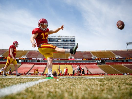 Iowa State redshirt senior place kicker Garrett Owens (17) practices a kickoff during their spring game on Saturday, April 8, 2017, in Ames.