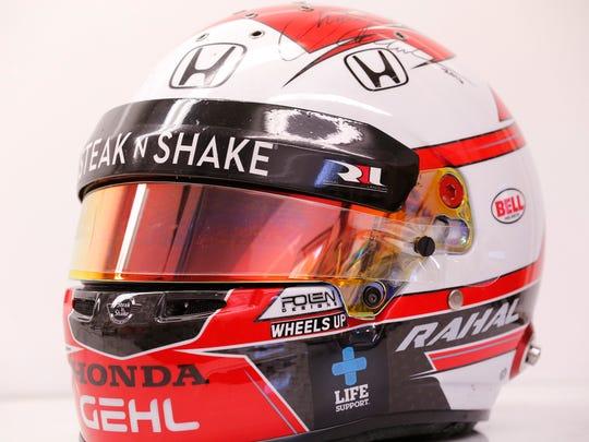 A helmet painted by Austin Polen for race car driver