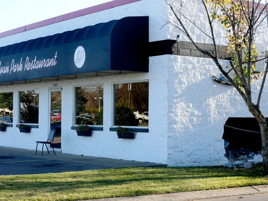 A car hit the Sylvan Park Restaurant on Thursday, Nov. 9, 2017, injuring 2 people.