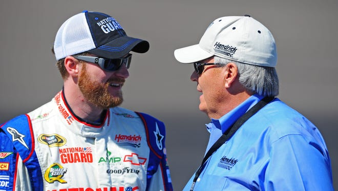 Dale Earnhardt Jr, left, was happy the last time team owner Rick Hendrick, right, chose a crew chief.