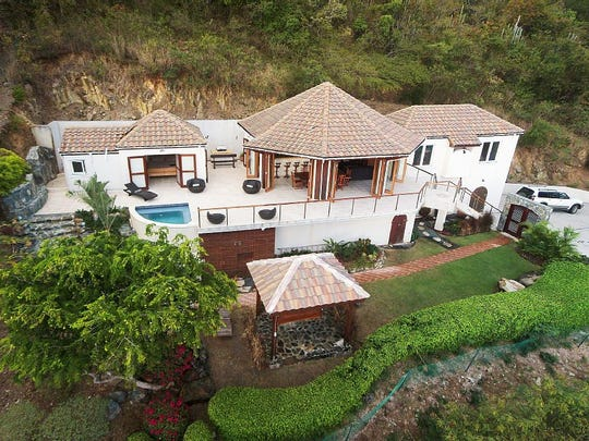An aerial view of the property in paradise.