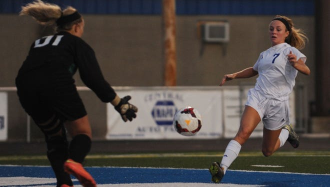 Chillicothe's Payten Davis shoots against Hillsboro in a Division II sectional final contest last season. This past Tuesday, Davis broke a Ross County record with her 81st career goal.