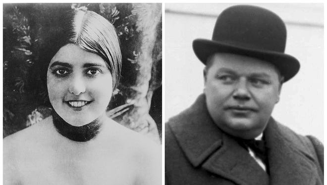 """This combination photo shows actress Virginia Rappe in 1921, left, and comedian Roscoe """"Fatty"""" Arbuckle. In the first scandal to shake Hollywood, Arbuckle attended a wild party in San Francisco in 1921 ended in the death of starlet Rappe. Rappe, writhing in pain from a ruptured bladder, accused Arbuckle of raping her."""