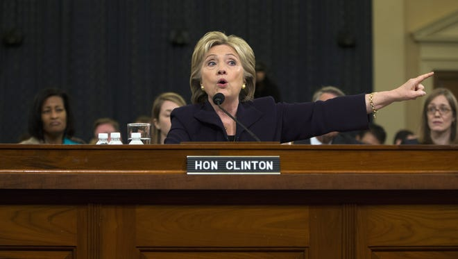 Hillary Clinton testifies on Capitol Hill in October 2015, before the House Benghazi Committee.