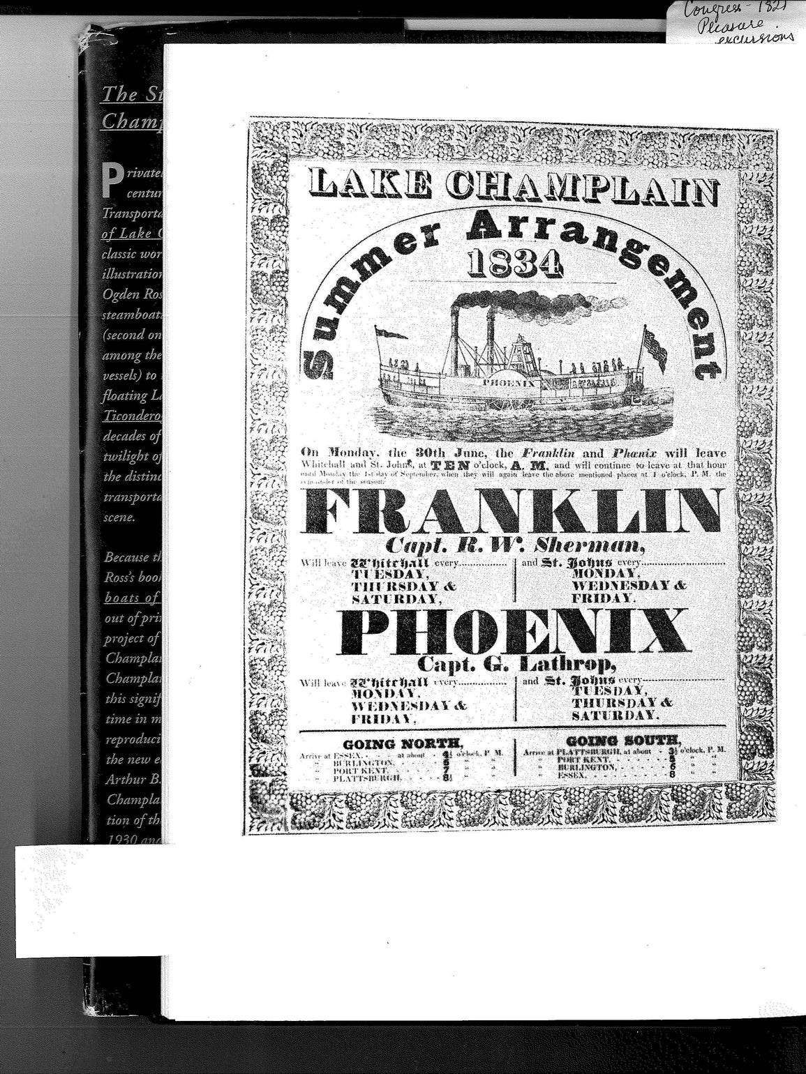 A broadside poster from 1834 showing the Franklin and