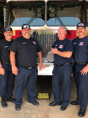 Tecumseh firefighters, pictured from left to right, Sean Breeding, Jim Stokes, Chief Rhett Banks and Justin Hamby.