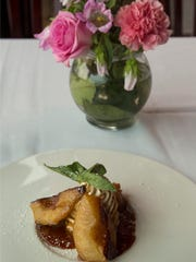 Roasted caramelized pears with spiced mascarpone cheese