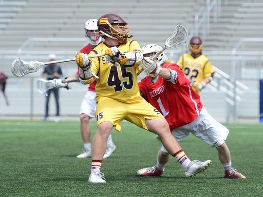 Salisbury's Nick Garbarino fires a shot on goalagainst