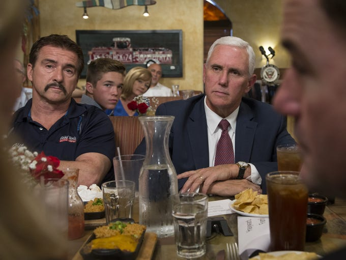 Vice President Mike Pence listens to business leaders