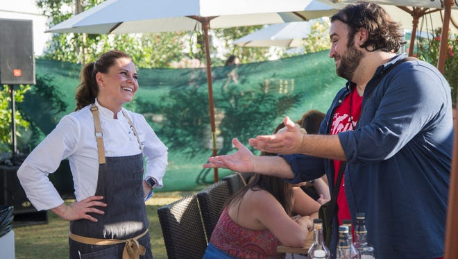 Azcentral food critic Dominic Armato introduces himself to Chef Rochelle Daniel during Scotch, Steaks & Stogies at the azcentral.com Food and Wine Experience on November 5, 2016 at Salt River Fields at Talking Stick.
