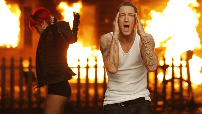 Rihanna and Eminem in their first video collaboration, 2010's 'Love the Way You Lie.'