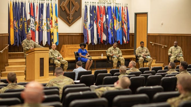 Brig. Gen. Brian Bisacre, U.S. Army Military Police School commandant, addresses junior MP officers at an open discussion June 5 at Lincoln Hall Auditorium that covered some of the social issues currently facing this country.