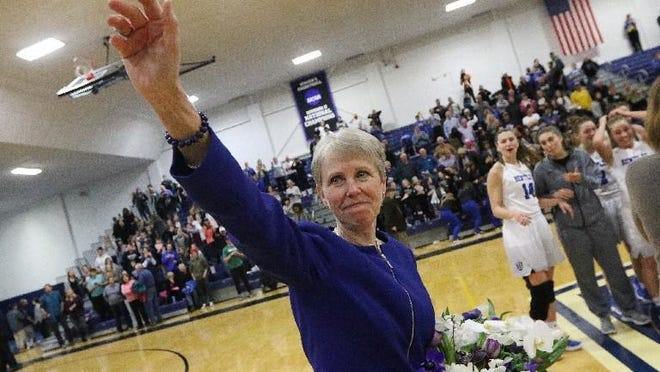With her Bentley University women's basketball team beating Adelphi University, 78-66, in January of 2018, head coach Barbara Stevens gained her 1,000th career win. She was waving to the cheering crowd after the win. Stevens announced her retirement Tuesday after 44 years and 1,058 total wins.