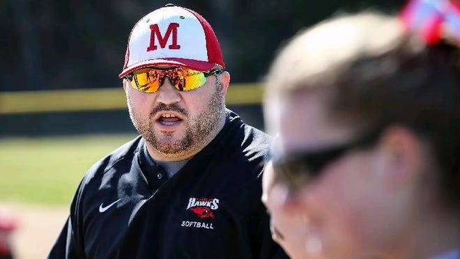 Milford softball coach Steve DiVitto, shown in 2017, helped put on a Senior Day on Thursday for the Scarlet Hawks' four seniors.