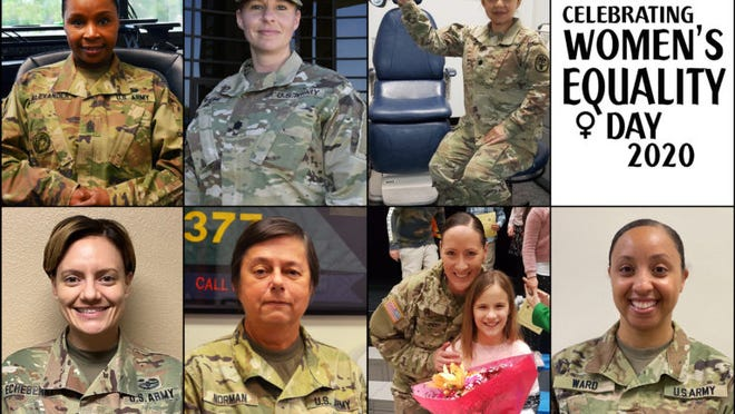 Clockwise from top left: U.S. Army Garrison Fort Leonard Wood Command Sgt. Maj. Faith Alexander, Lt. Col. Rachel Bowers, U.S. Army Military Police School personnel proponent officer, Lt. Col. Grace Dumayas-Booth, General Leonard Wood Army Community Hospital Optometry Services chief, Sgt. 1st Class Sara Echeberry, General Leonard Wood Army Community Hospital SHARP victim advocate, Col. Kerry Norman, Army Reserve chief of staff, Staff Sgt. Alexandra Shipway, 14th Military Police Brigade training and operations noncommissioned officer, and Capt. Jessica Ward, GLWACH optometrist, offered their thoughts on what inspired them to serve in the U.S. Army in commemoration of Women's Equality Day Aug. 26.