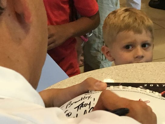 Brantley Wray, a 4-year-old from Dothan, keeps a watchful