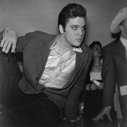 After a concert at Fort Wayne's Memorial Coliseum for 10,000 screaming teens and their awed parents in May 1957, Elvis Presley was quiet and courteous at a news conference.  The King's farewell tour -show before entering the Army was his first headline performance in Indiana.